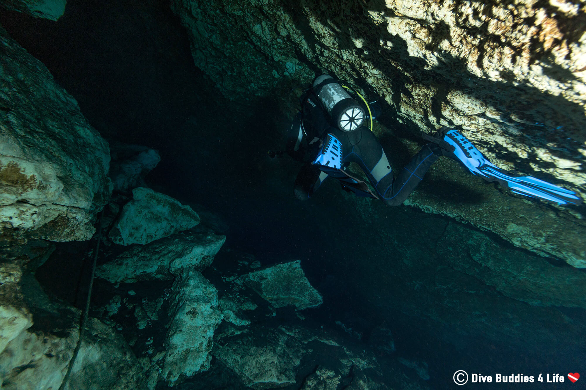 Joey In His Scuba Equipment Diving Into Florida's Blue Grotto Cavern, USA