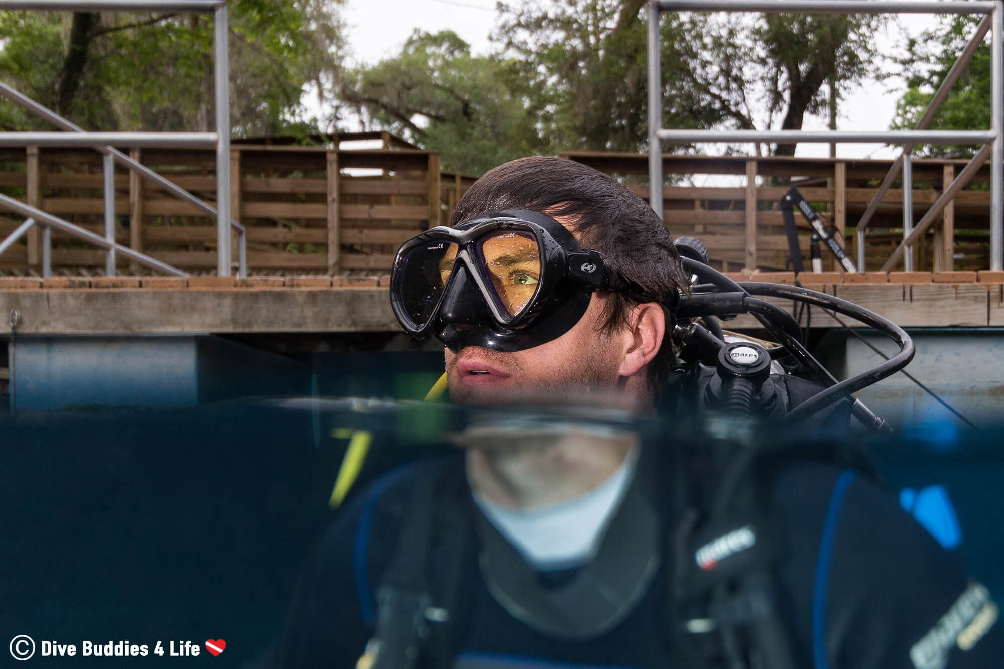 Joey In Scuba Equipment Split Photo About To Dive The Blue Grotto Sinkhole In Florida, USA