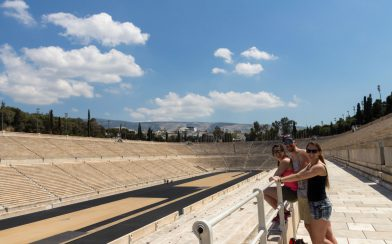 Joey, Nadine and Ali Looking at the Stadium