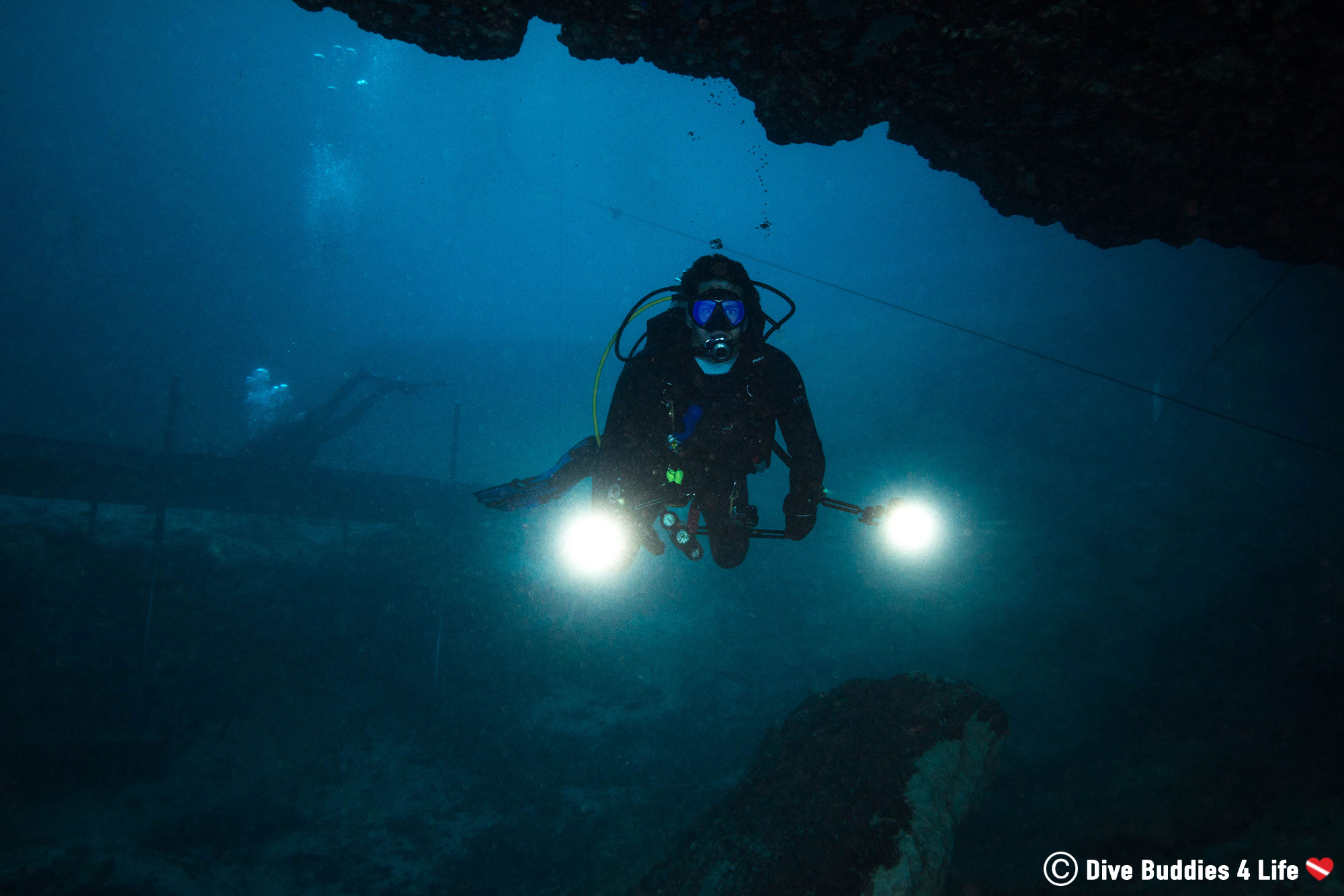 Joey Scuba Diving Blue Grotto With Strobes On His Camera