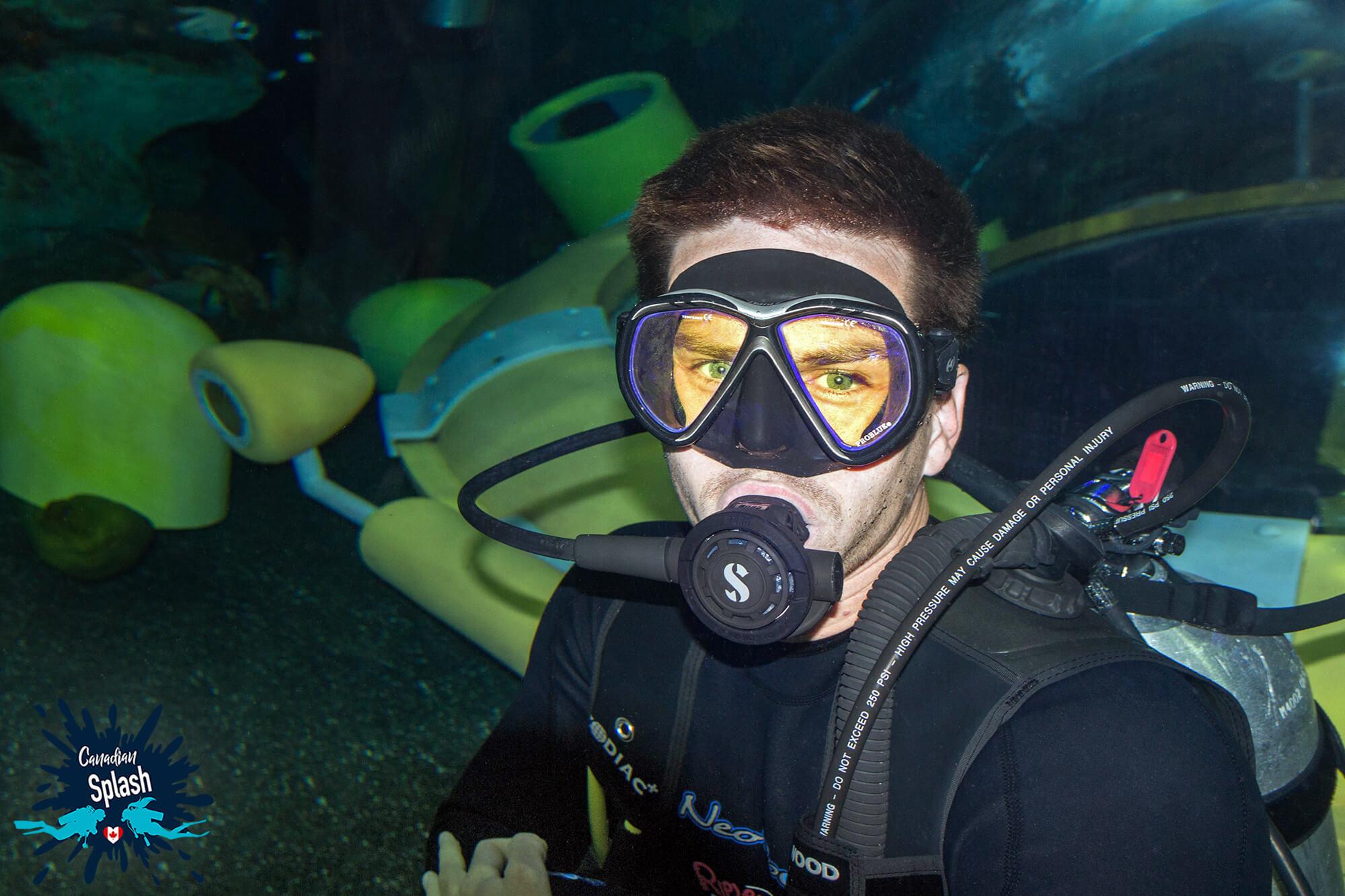 Joey Scuba Diving Near The Ripley's Submarine In The Aquarium, Scuba Diving Ripley's Aquarium, Ontario, Canada