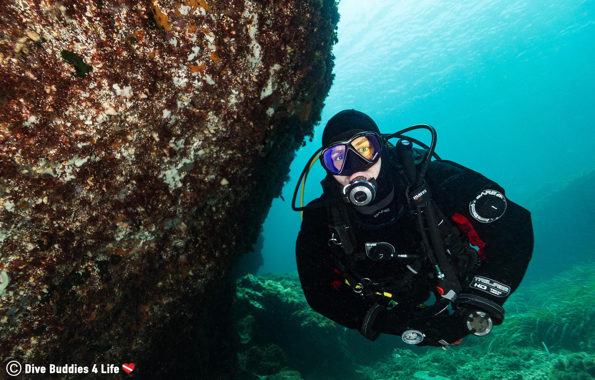 Joey Scuba Diving A Nice Wall In Spain's Murcia Region, Europe