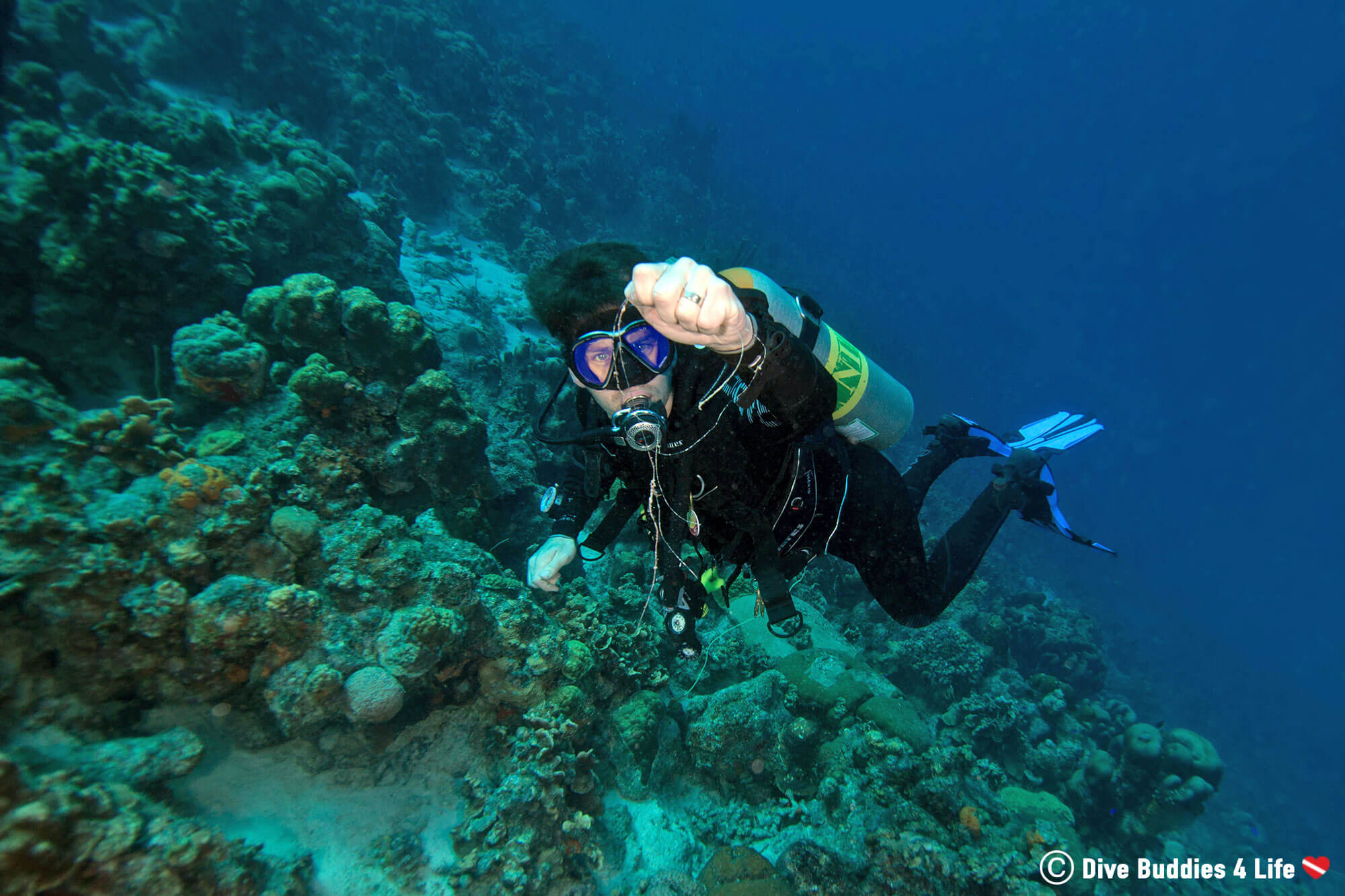 Joey Scuba Diving And Untangling Fishing Line From Some Corals On Bonaire During The Dive Clean Up With Dive Friends