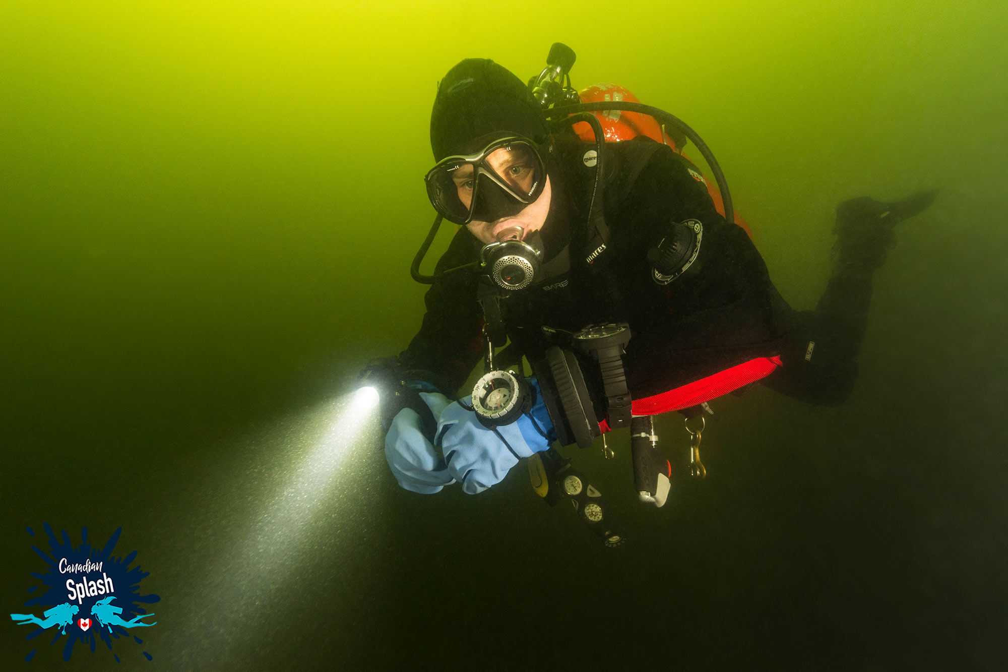 Joey Scuba Diving In A Stratified Lake In Ontario Above The Thermocline, Canadian Splash