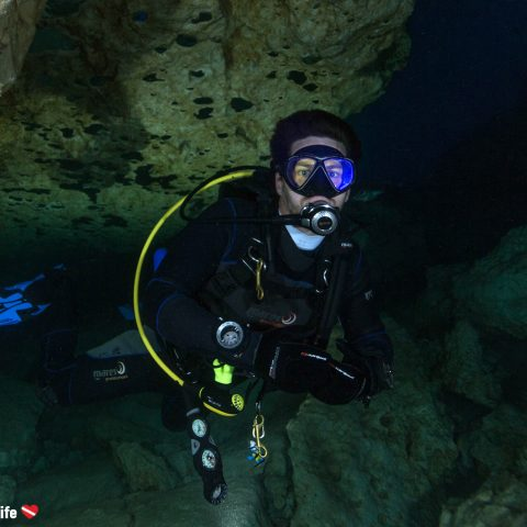 Joey Scuba Diving In The Blue Grotto Caves Of Florida, USA