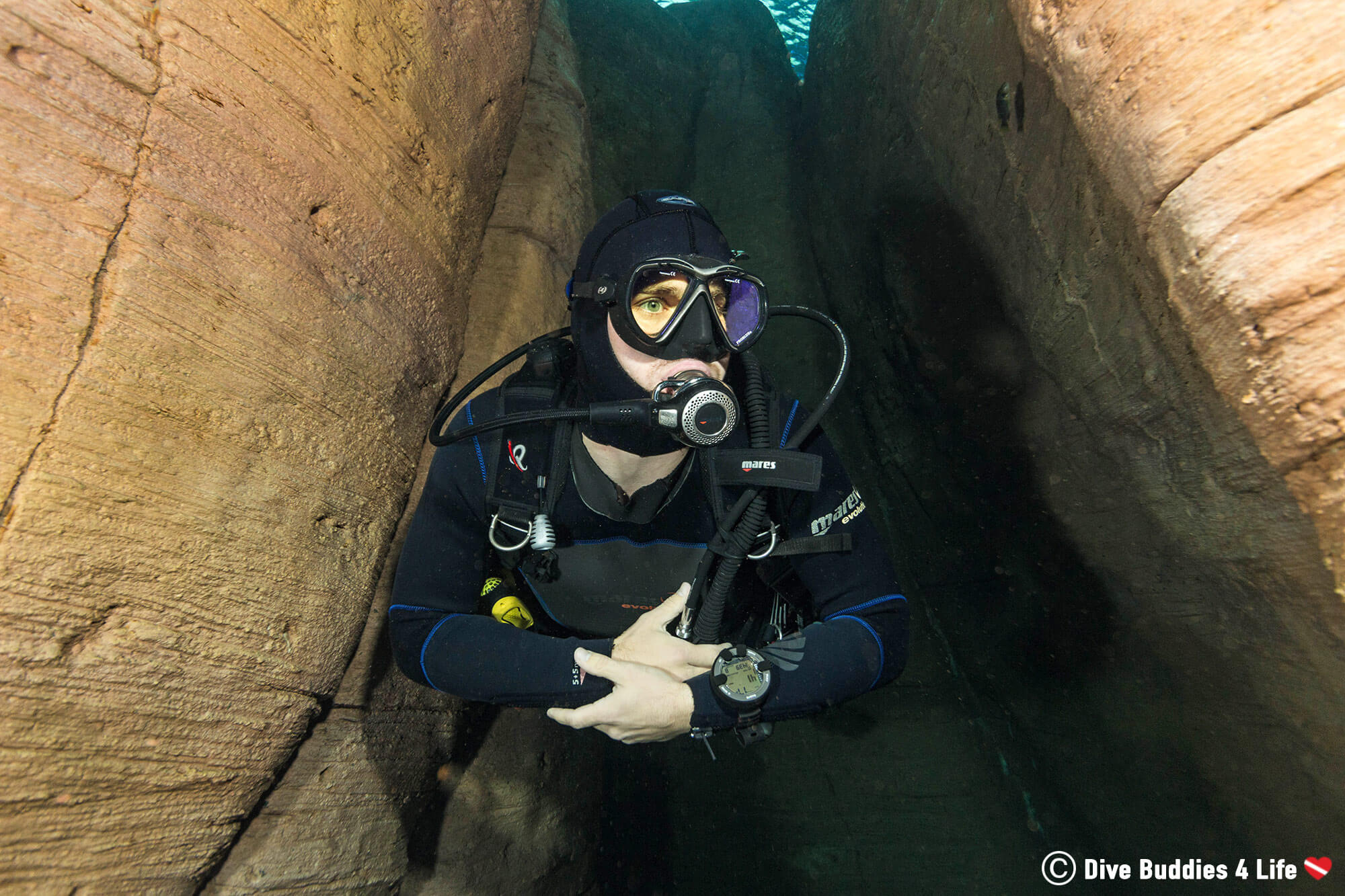 Joey Scuba Diving In The TODI Underwater Canyon Aquascape In Belgium, Europe