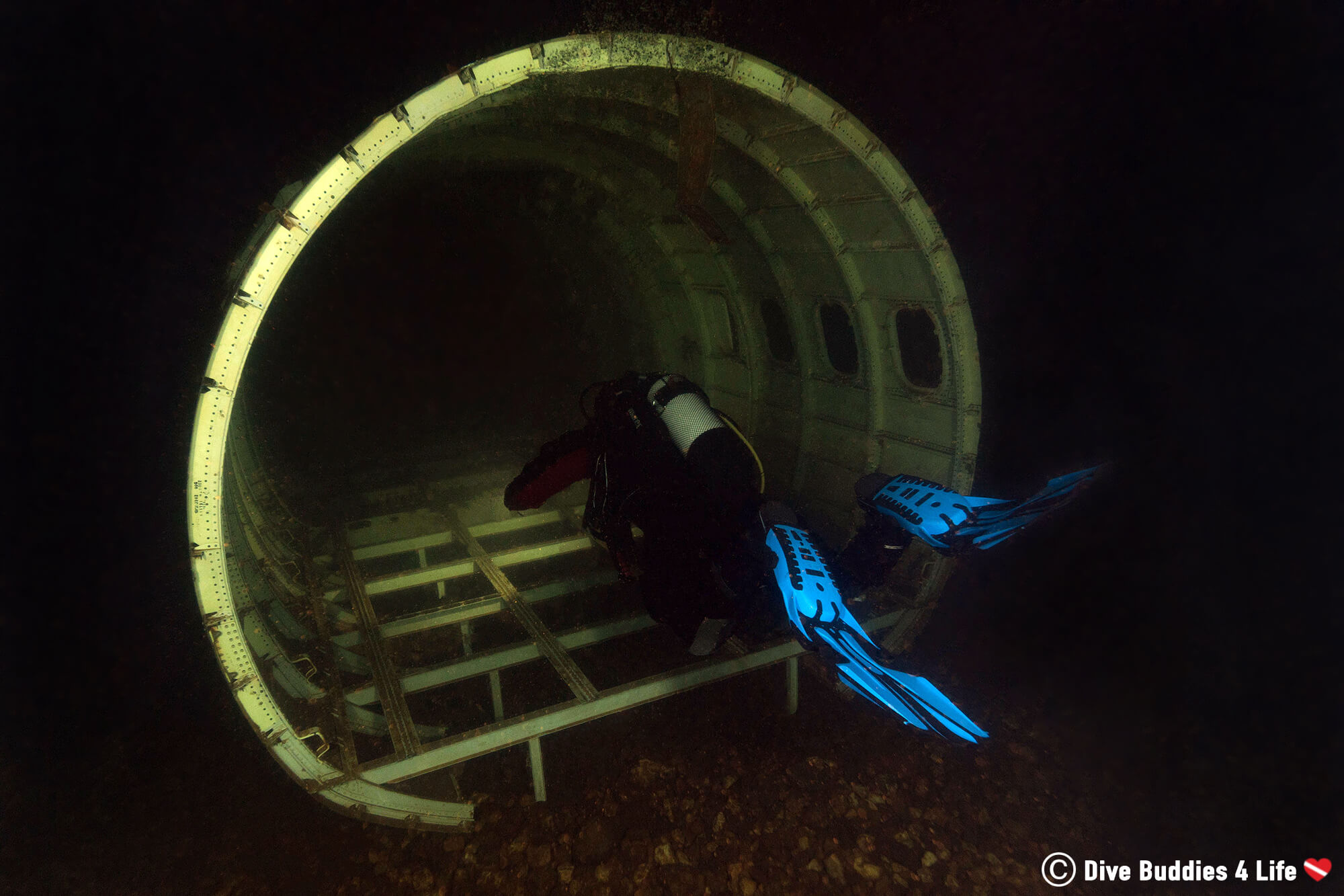 Joey Scuba Diving Into The Mid Section Of An Airplane In The Gas O Meter, Germany