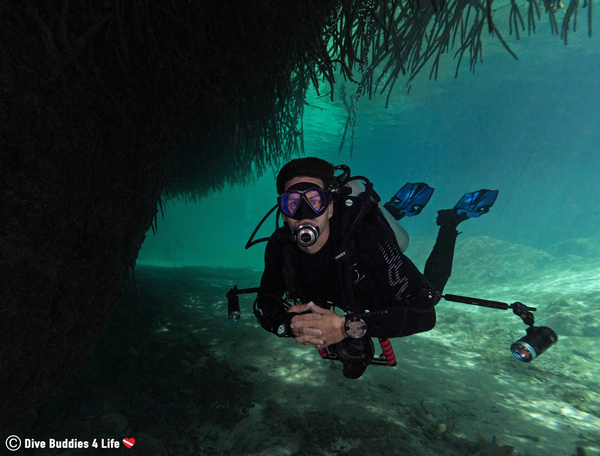 Joey Scuba Diving The Underwater Jungle Of Casa Cenote, Tulum, Mexico