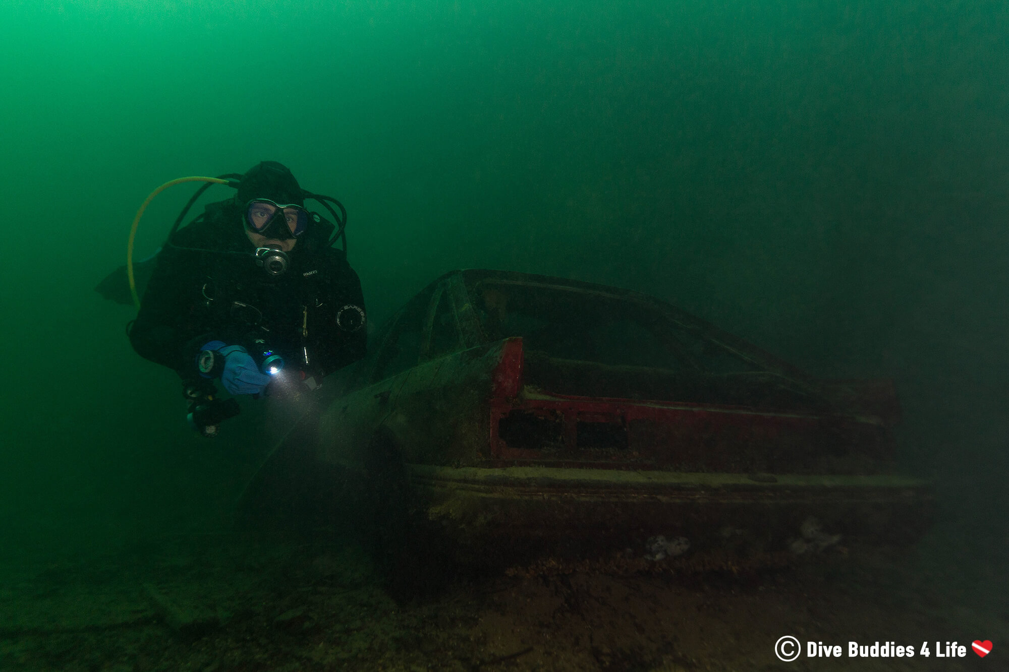 Joey Scuba Diving The Vobster Quay In England And Finding A Sunken Car, United Kingdom, Europe