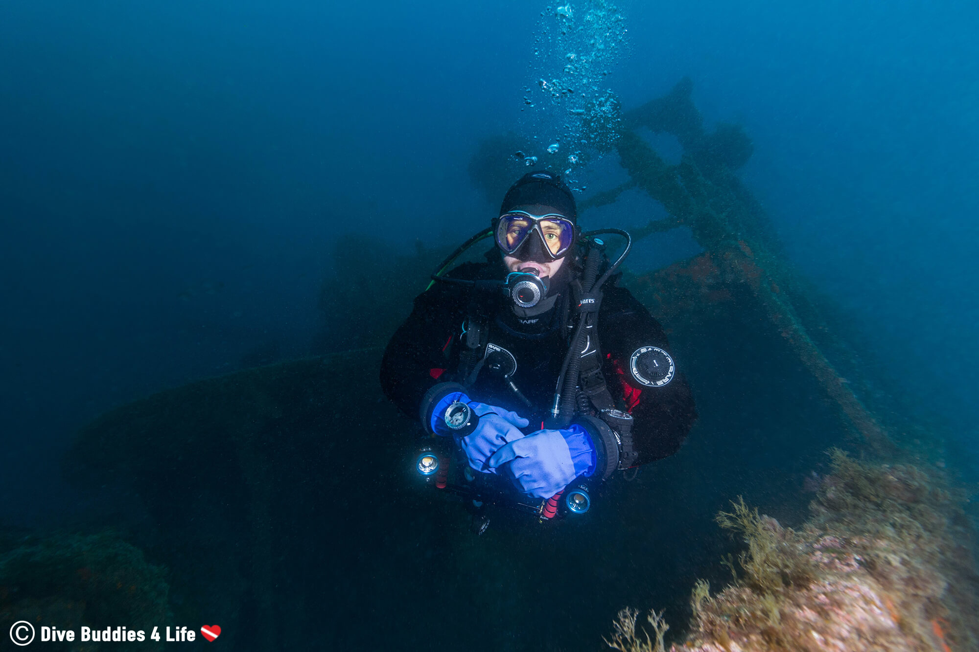 Joey Scuba Diving To The Boreas Tugboat In Spain's Costa Brava
