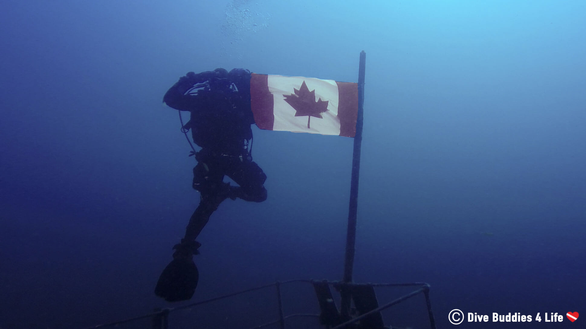 Joey Scuba Diving The Niagara II With A Canadian Flag