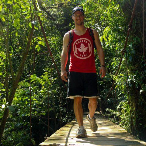 Joey Walking a Bridge in the Costa Rican Rainforest