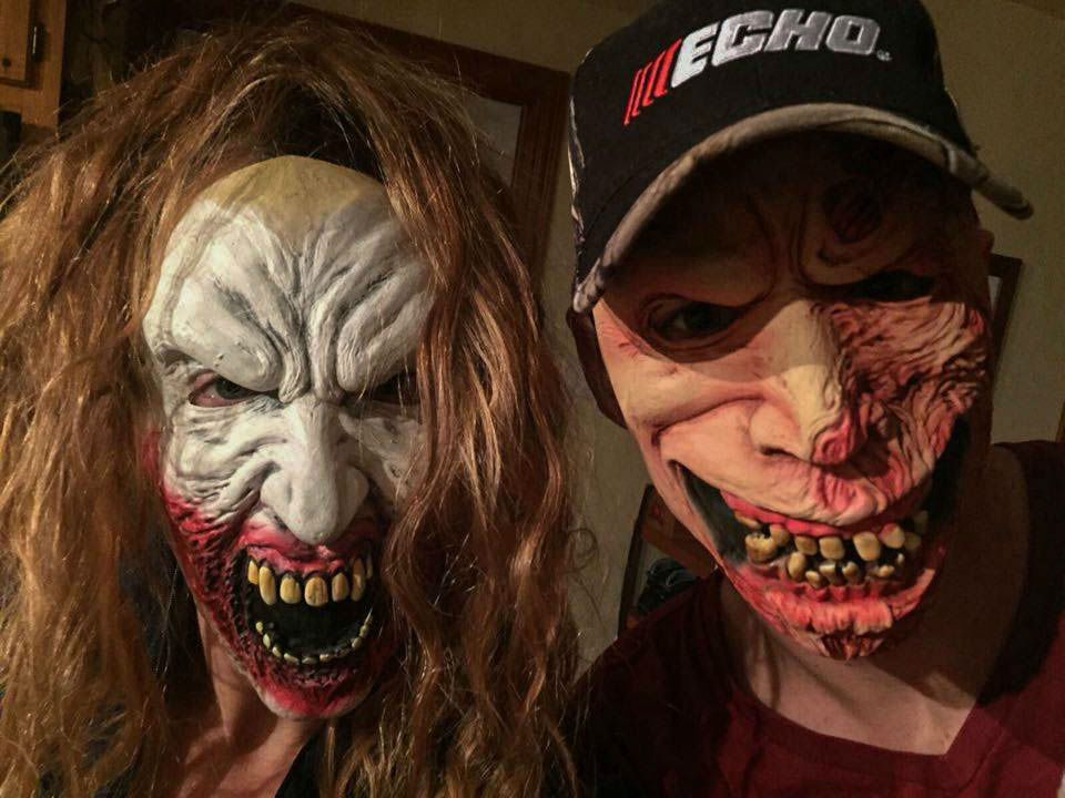 Joey And Ali Being Zombies In Creepy Masks