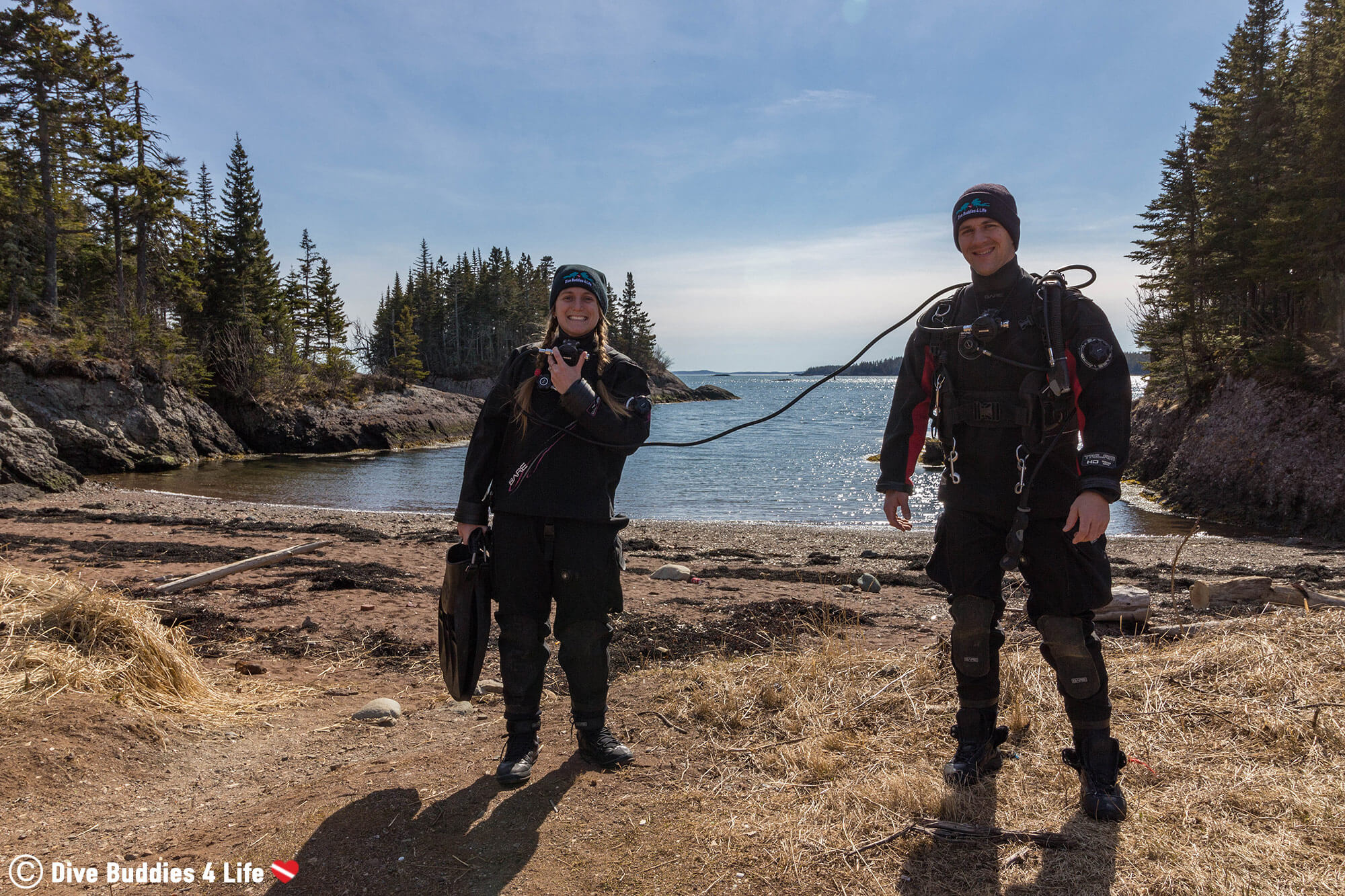 Joey And Ali Getting Ready To Go Scuba Diving At The Grand Manan Ferry Terminal, New Brunswick, Canada