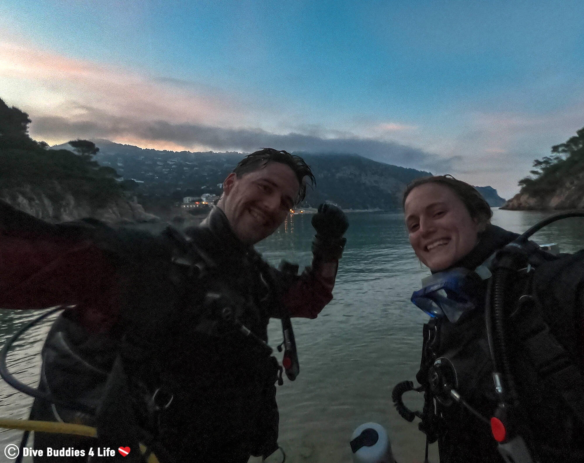 Joey And Ali Getting Ready To Go In For A Night Dive In Spain, Europe