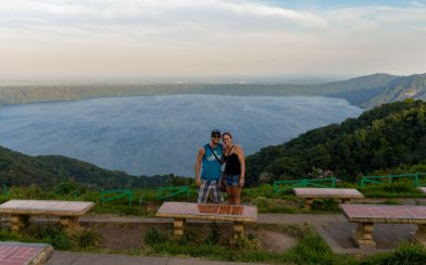 Joey And Ali Over Looking the Apoyo Lagoon in Nicaragua