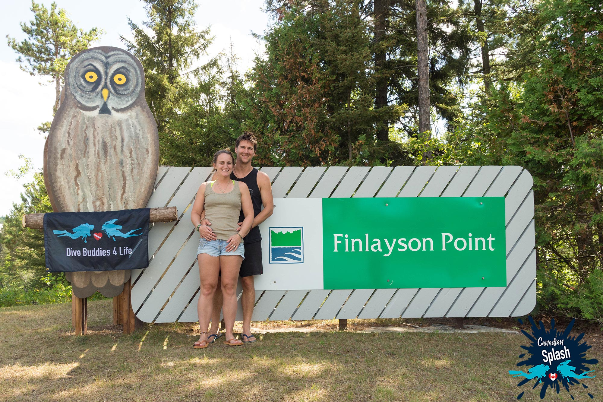 Joey And Ali Standing At The Front Of Finlayson Provincial Park After A Weekend Of Scuba Diving, Northern Ontario, Canada