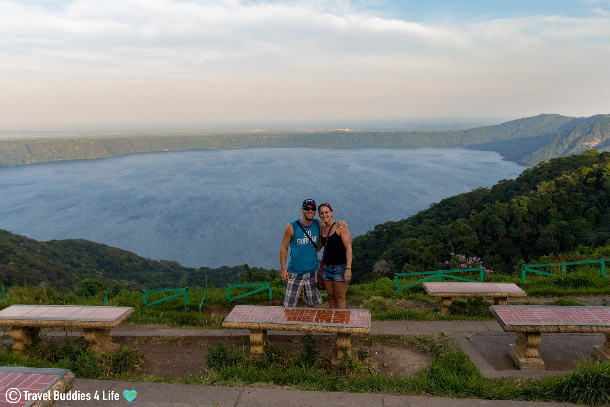 Joey And Ali Standing At The Overview Of The Laguna Apoyo A Unique Scuba Diving Spot In Nicaragua, Central America