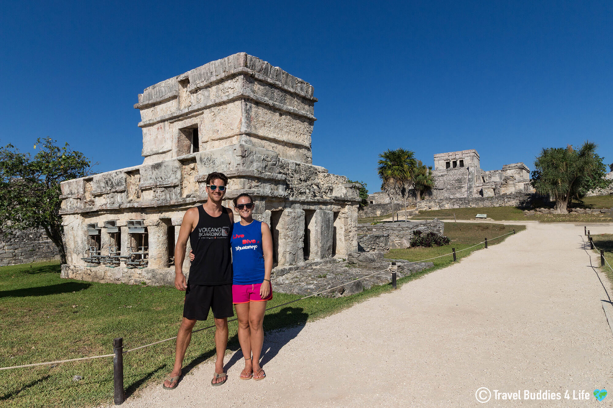 Joey And Ali Touring The Sea Side Ruins Of Tulum, Yucatan Peninsula, Mexico