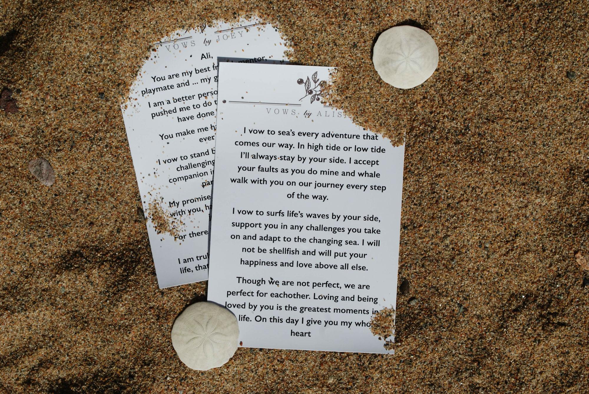 Joey And Ali Ocean Wedding Vows