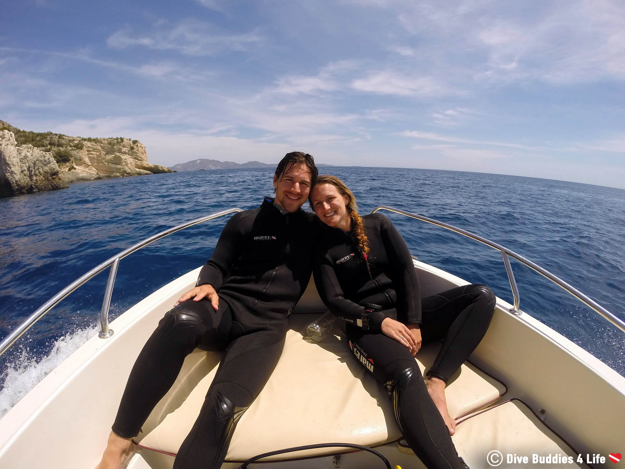 Joey And Ali At The Bow Of A Dive Boat Heading Out On Zakynthos Island To Go Scuba Diving, Greece, Europe