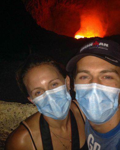 Joey and Ali at the Masaya Volcano