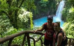 Joey and Ali with the Rio Celeste River in Costa Rica