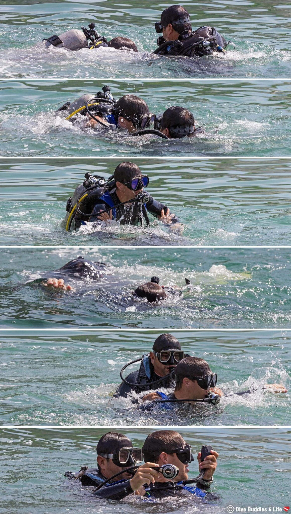 Joey And Angel Fighting In Scuba Diving Equipment During The PADI Rescue Diver Scuba Course