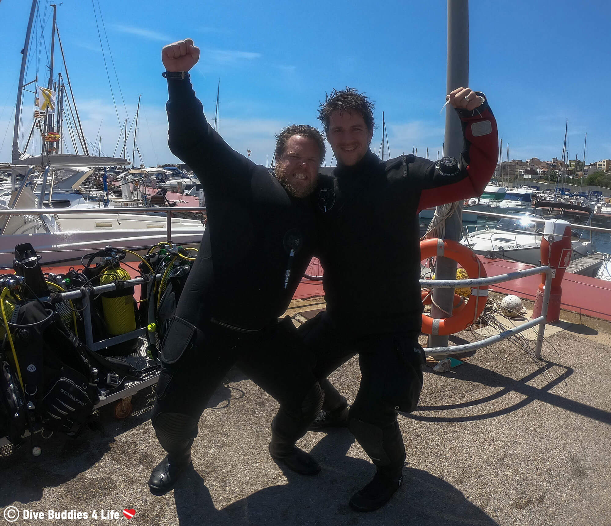 Joey And the Divemaster after a Dive In Costa Brava, Spain