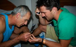 Joey and Dad Taking out a Splinter in La Fortuna