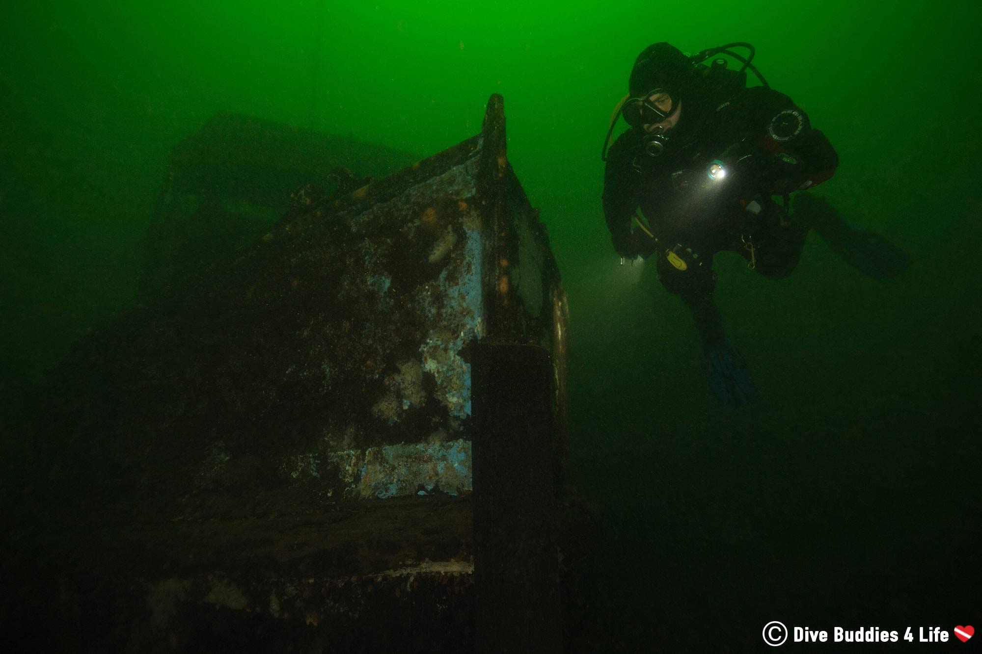Joey At The Bow Of A Shipwreck In Stoney Cove Inland Diving Quarry, England, Europe