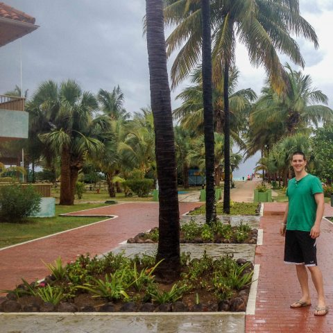 Joey by the Palm Trees in Cuba