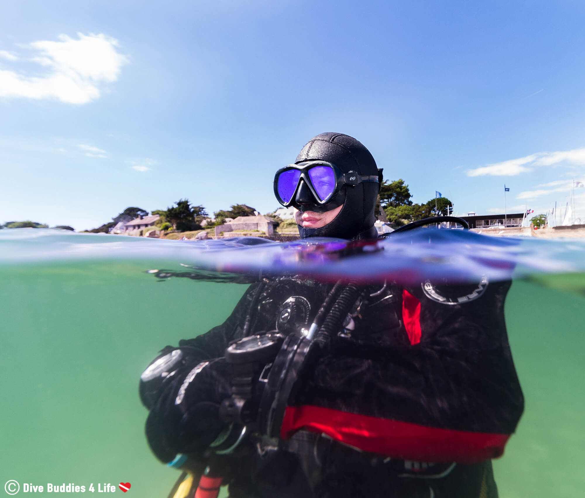 Joey In Dive Gear Floating At The Surface Of The Atlantic Ocean In Carnac, France