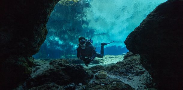 Joey In The Opening of the Ginnie Springs Crevice, Florida, Scuba Diving USA