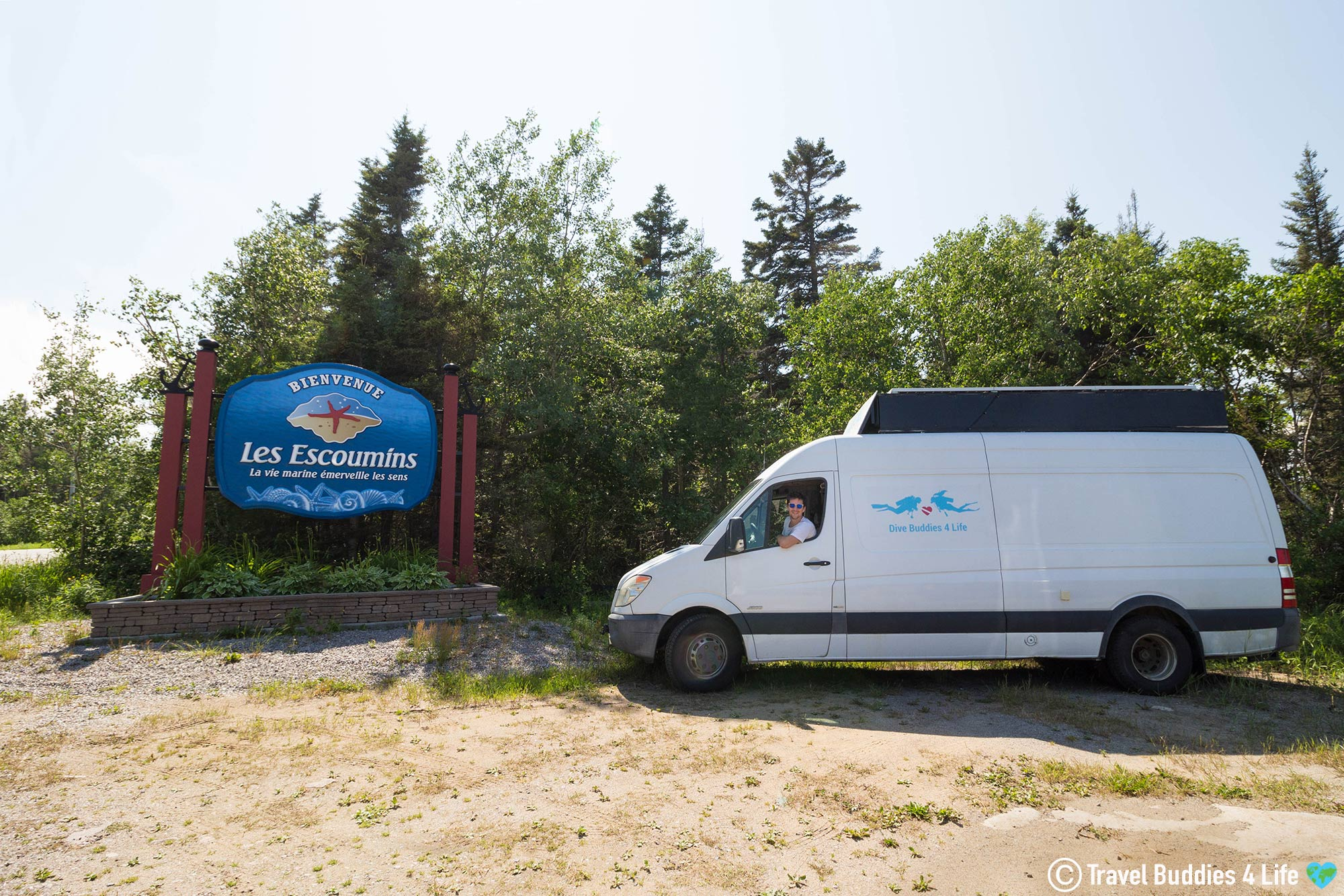 Joey In The Scuba Diving Van Travelling To Les Escoumins For A Diving Adventure, Quebec, Canada