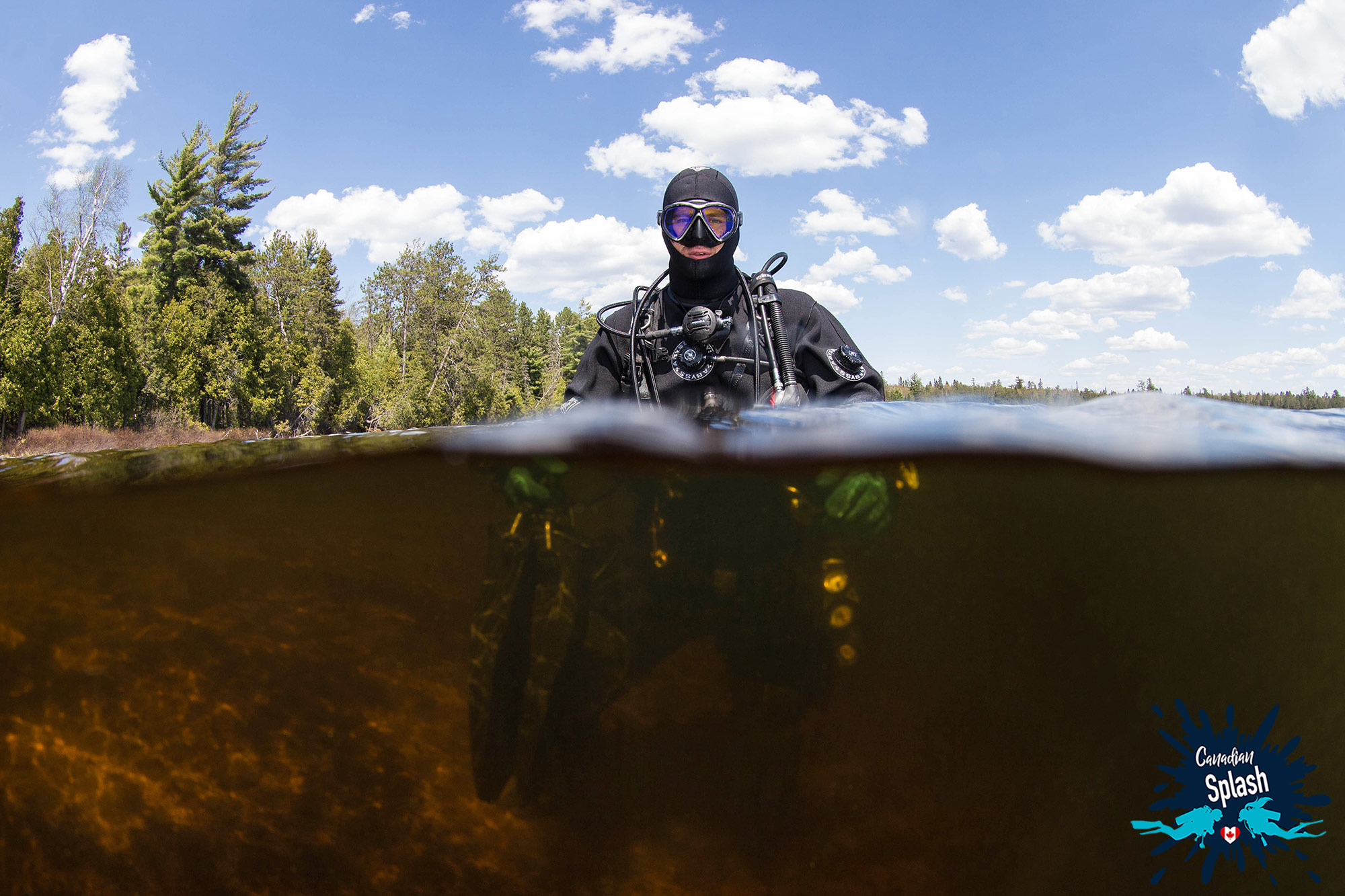 Joey In The Tea Coloured Water Of McDougall Lake, Northern Ontario, Canadian Scuba Diving