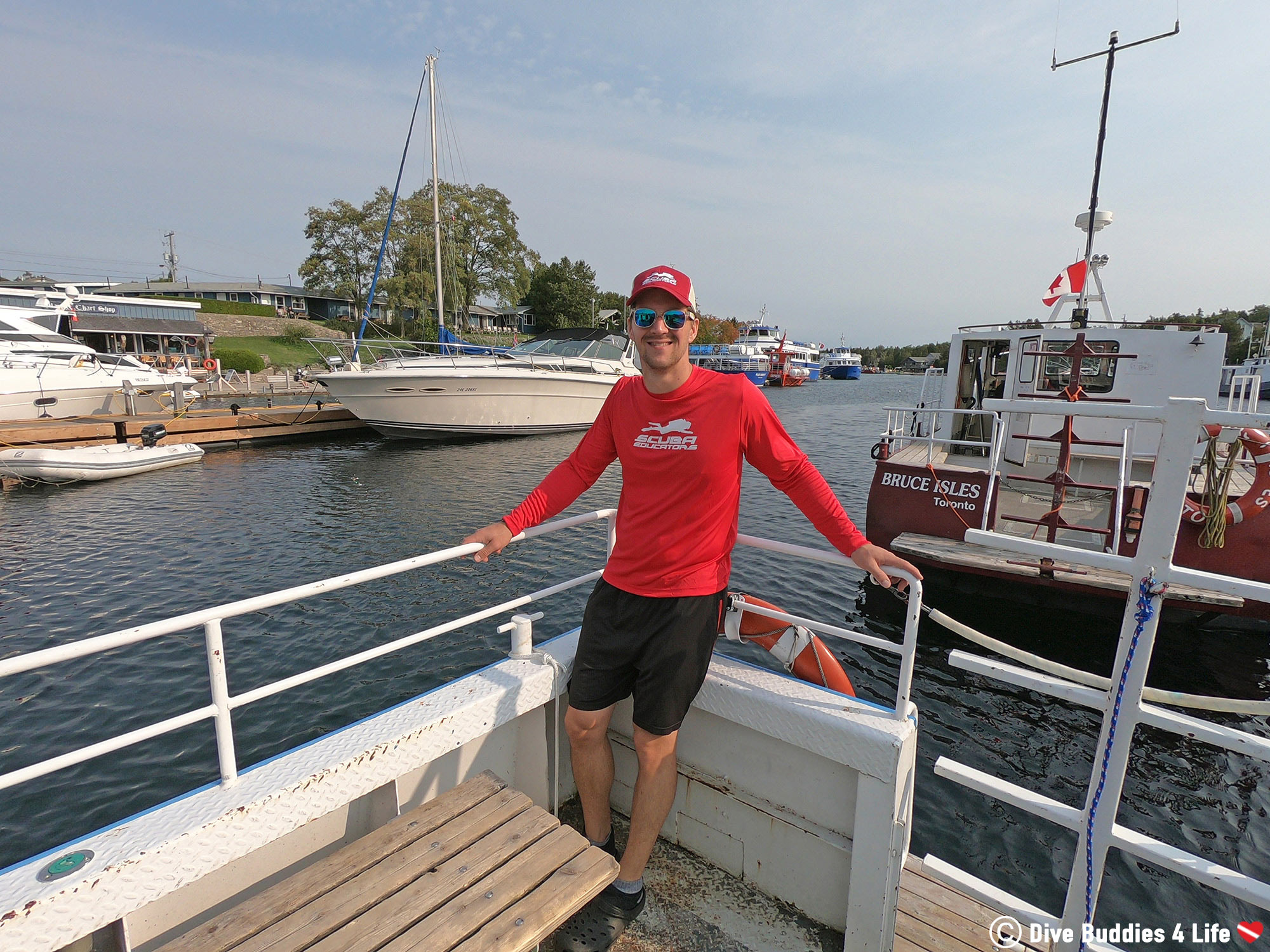 Joey On A Dive Boat At Home In Ontario With His Scuba Educators International Gear