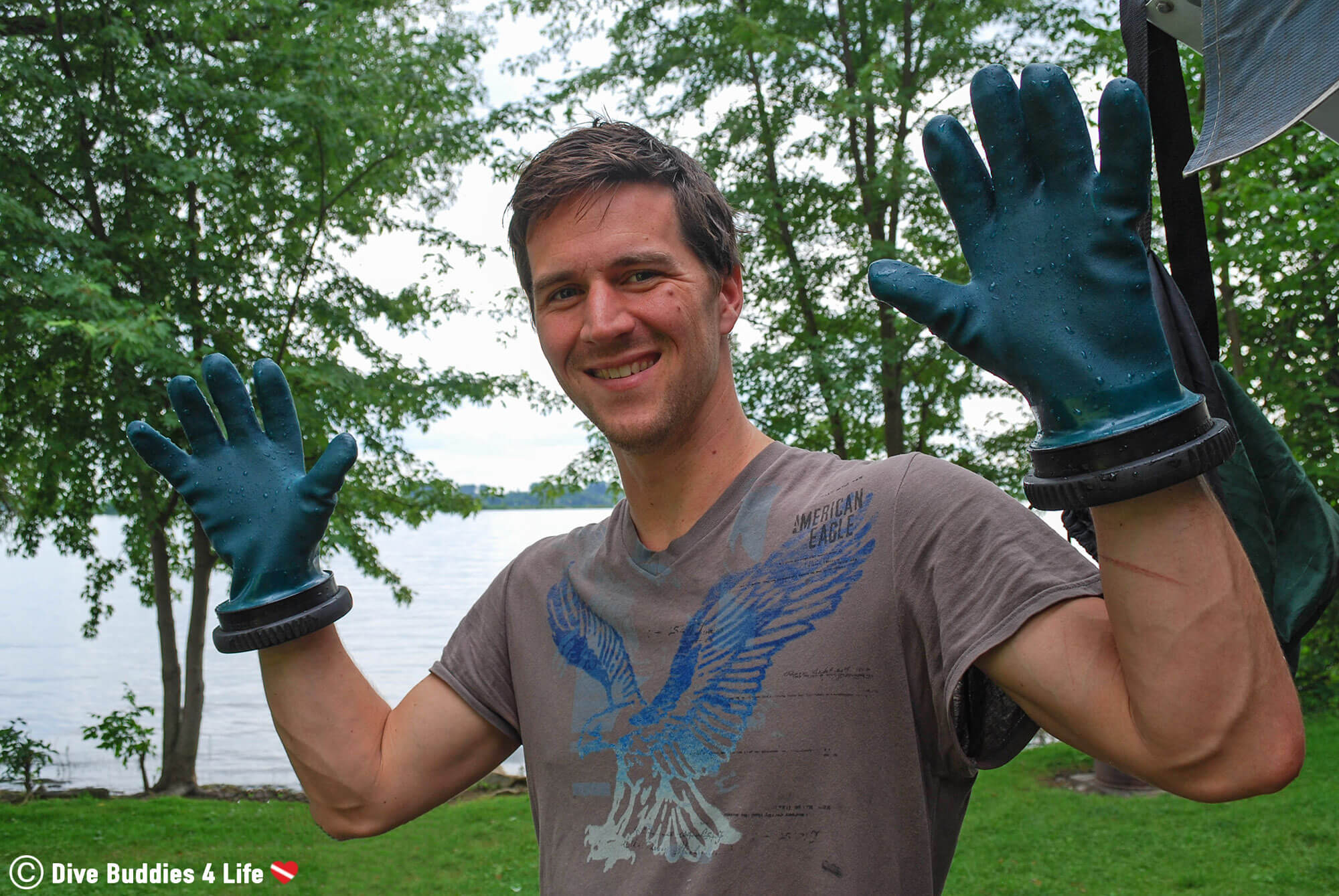 Joey With His New Dry Gloves In Brockville, Ontario Scuba Diving, Canada