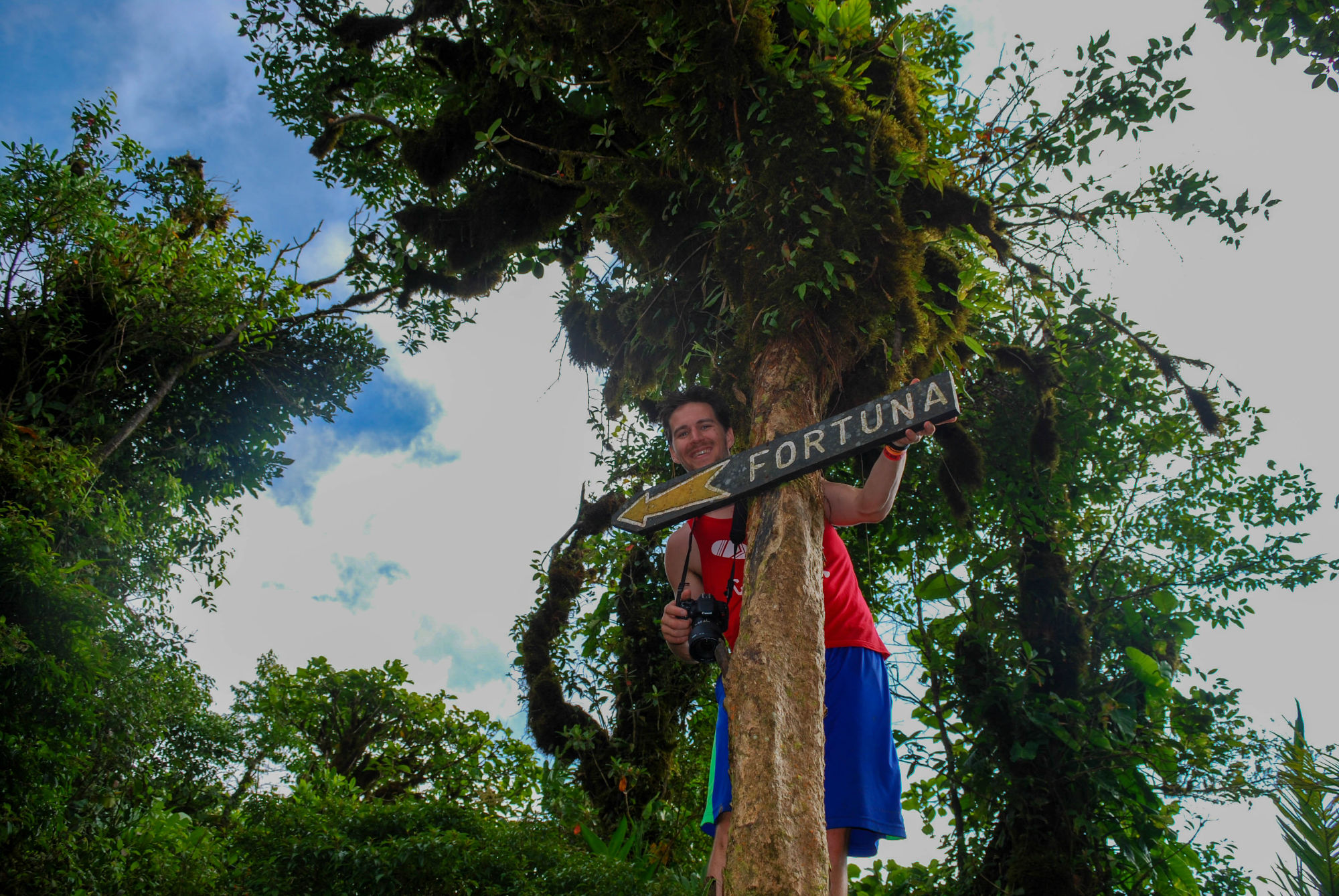 Joey with the La Fortuna Hiking Sign
