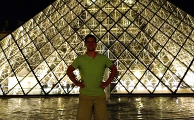 Joey with the Louvre at Night
