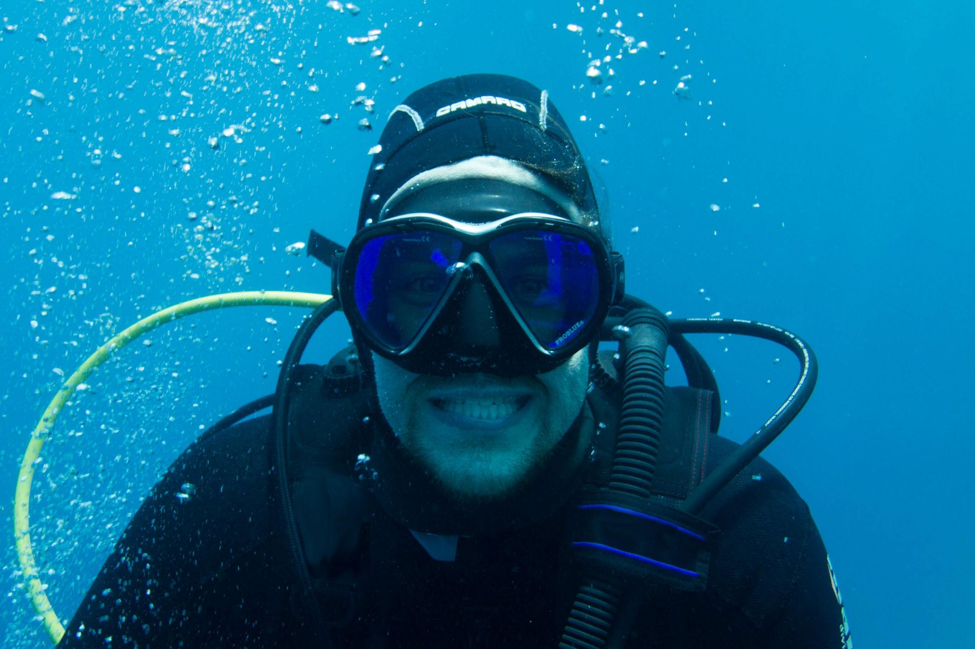 Joey's Underwater Scuba Selfie on Deer Island, Canada