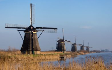 Kinderdijk Windmills Along The Creek