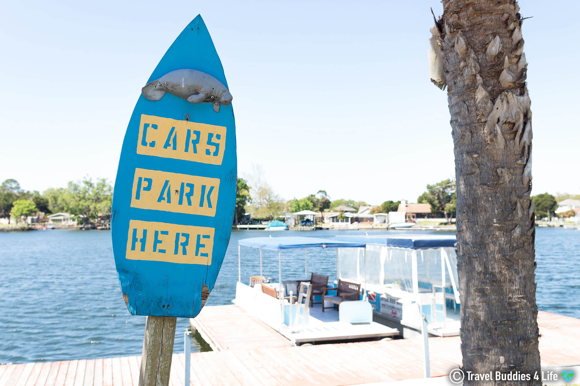 Manatee Car Park Sign In Crystal River, Florida, USA