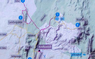 Map of the Krafla Volcano Hike