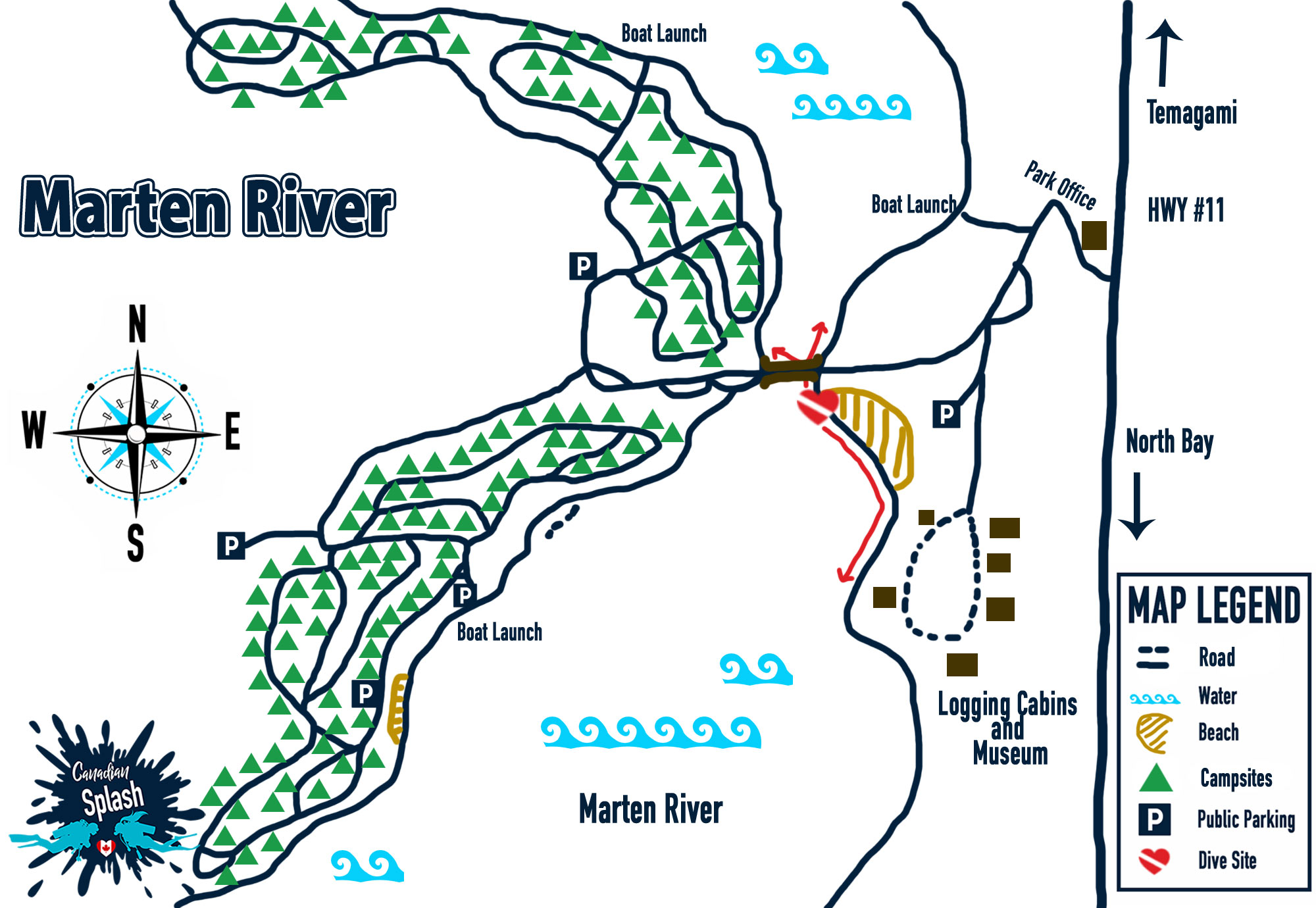 Marten River Provincial Park Map And Dive Site Entry Location, Ontario Parks