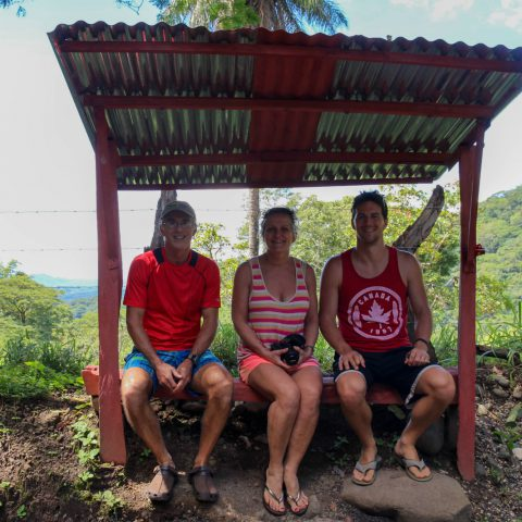 Mom, Dad and Joey in a Tin Hut on our Way to the Rainforest