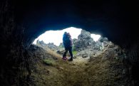 Mom and Ali in an Iceland Lava Cave