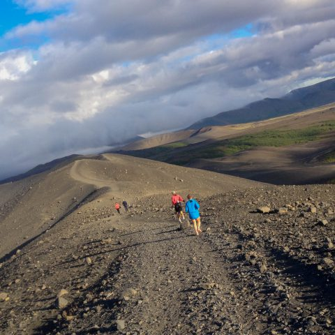 Mom and Dad Jogging on the Edge of the Crater