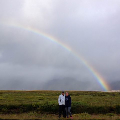 Mom and Dad with Rainbow