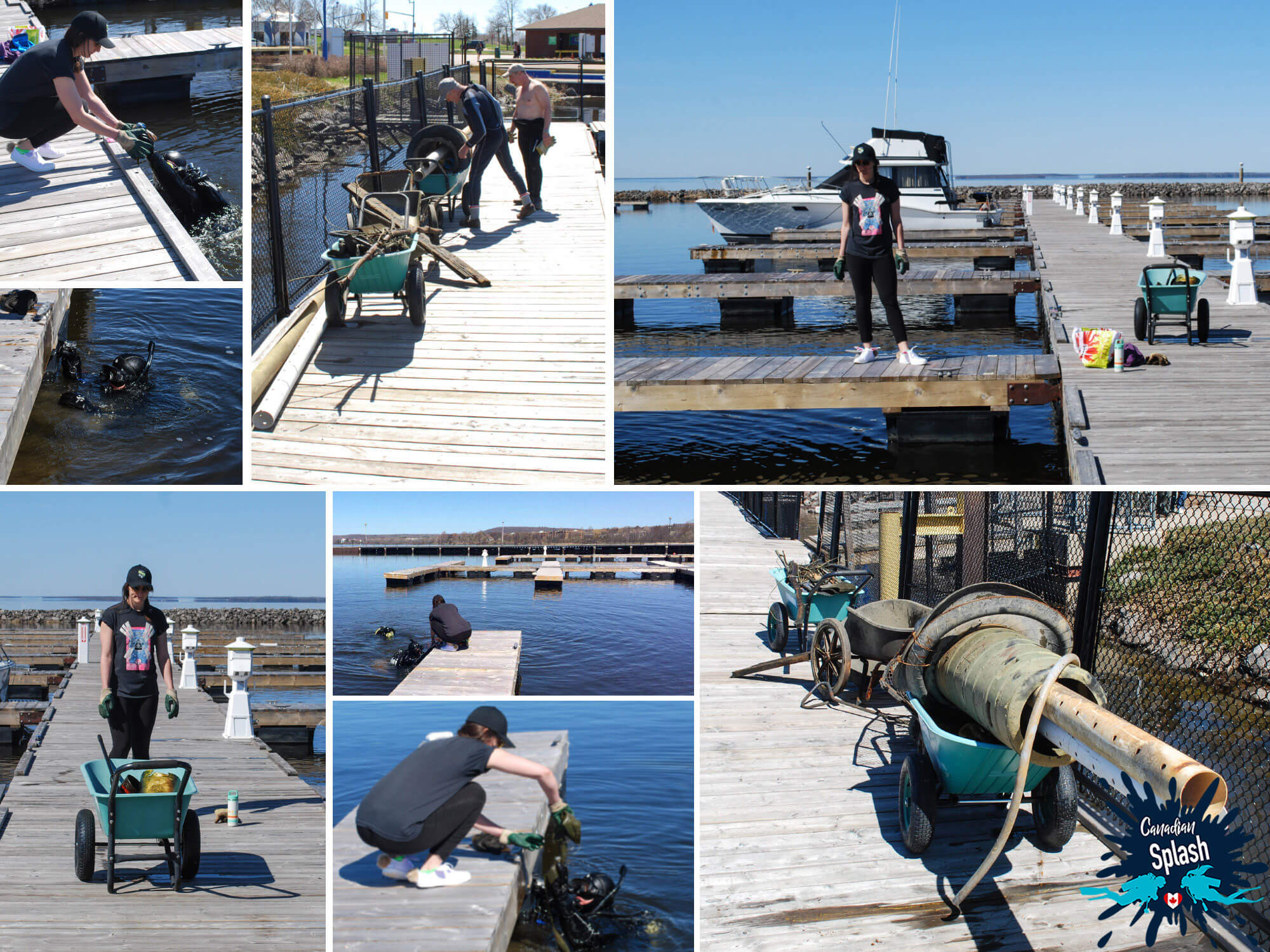 Mosaic Of The North Bay Scuba Clean Up In The Waterfront Harbour, Ontario, Canadian Scuba Diving